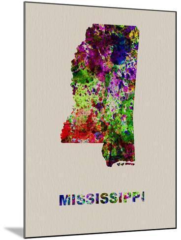 Mississippi Color Splatter Map-NaxArt-Mounted Art Print