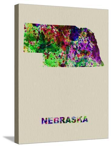Nebraska Color Splatter Map-NaxArt-Stretched Canvas Print