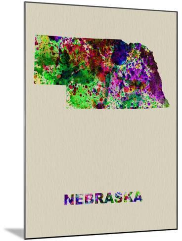 Nebraska Color Splatter Map-NaxArt-Mounted Art Print