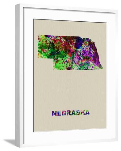 Nebraska Color Splatter Map-NaxArt-Framed Art Print