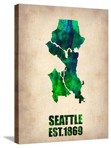 Seattle Watercolor Map-NaxArt-Stretched Canvas Print