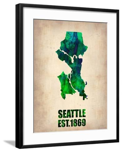Seattle Watercolor Map-NaxArt-Framed Art Print