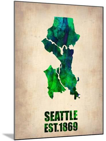 Seattle Watercolor Map-NaxArt-Mounted Art Print