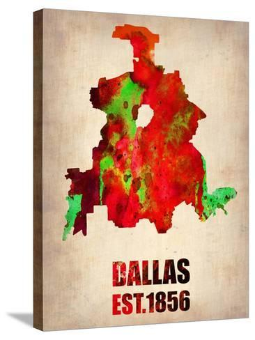 Dallas Watercolor Map-NaxArt-Stretched Canvas Print