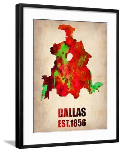 Dallas Watercolor Map-NaxArt-Framed Art Print