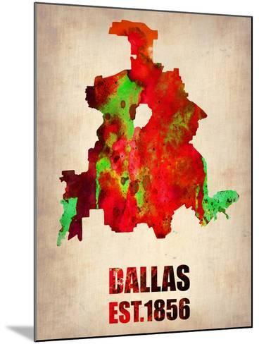 Dallas Watercolor Map-NaxArt-Mounted Art Print