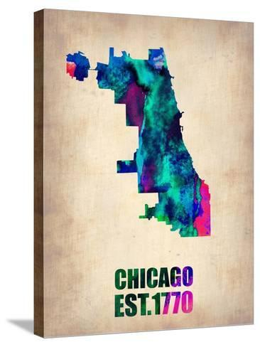 Chicago Watercolor Map-NaxArt-Stretched Canvas Print