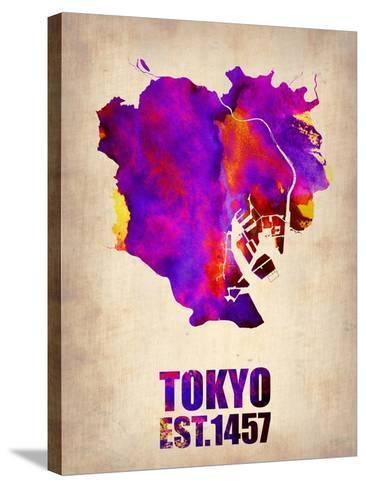 Tokyo Watercolor Map 2-NaxArt-Stretched Canvas Print