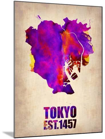 Tokyo Watercolor Map 2-NaxArt-Mounted Art Print