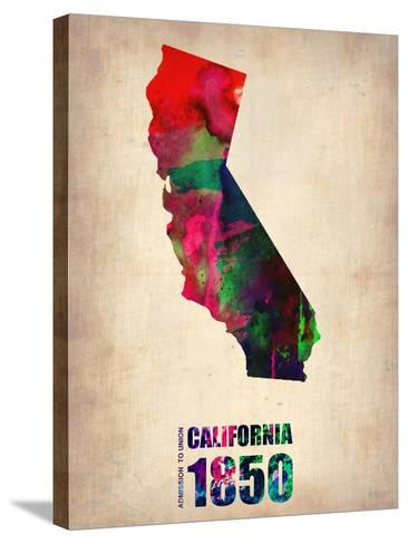 California Watercolor Map-NaxArt-Stretched Canvas Print