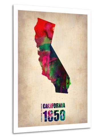 California Watercolor Map-NaxArt-Metal Print