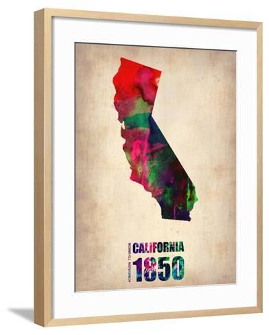 California Watercolor Map-NaxArt-Framed Art Print