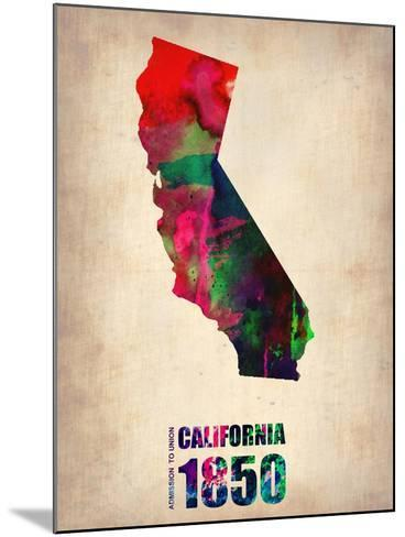 California Watercolor Map-NaxArt-Mounted Art Print