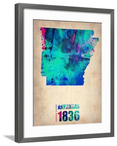 Arkansas Watercolor Map-NaxArt-Framed Art Print