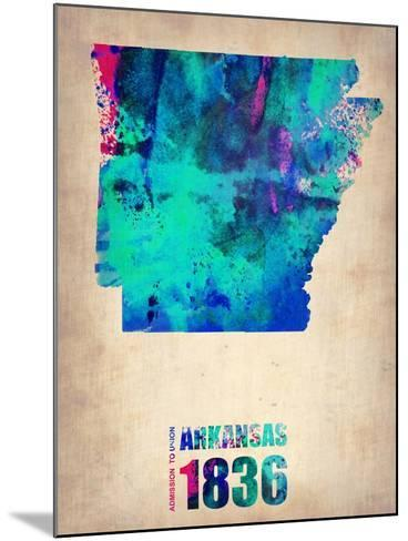 Arkansas Watercolor Map-NaxArt-Mounted Art Print