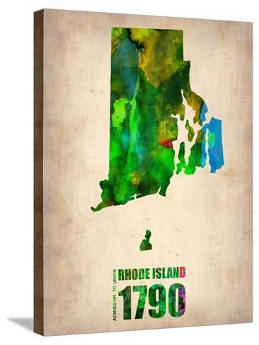 Rhode Island Watercolor Map-NaxArt-Stretched Canvas Print