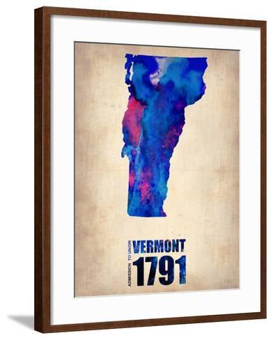 Vermont Watercolor Map-NaxArt-Framed Art Print