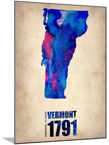 Vermont Watercolor Map-NaxArt-Mounted Art Print