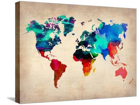 World Watercolor Map 1-NaxArt-Stretched Canvas Print