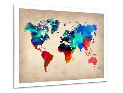 World Watercolor Map 1-NaxArt-Metal Print