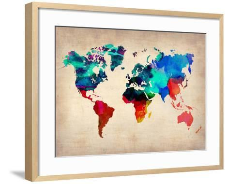 World Watercolor Map 1-NaxArt-Framed Art Print