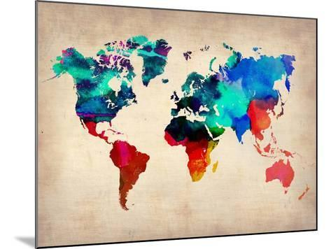World Watercolor Map 1-NaxArt-Mounted Art Print