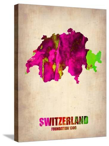 Switzerland Watercolor Map-NaxArt-Stretched Canvas Print
