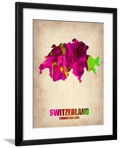 Switzerland Watercolor Map-NaxArt-Framed Art Print