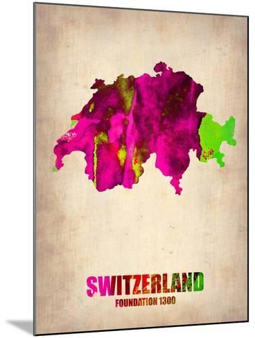 Switzerland Watercolor Map-NaxArt-Mounted Art Print