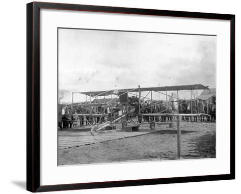 Harvey Crawford and Biplane at Tacoma (September 28, 1912)-Marvin Boland-Framed Art Print