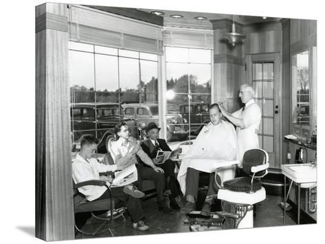 Lakewood Barber Shop, 1940-Chapin Bowen-Stretched Canvas Print