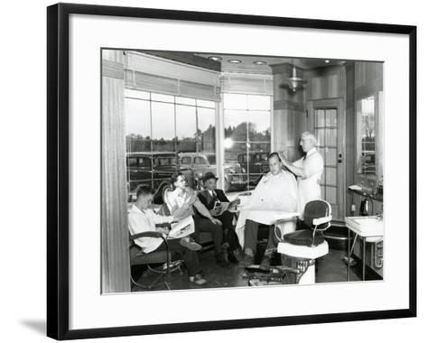 Lakewood Barber Shop, 1940-Chapin Bowen-Framed Art Print