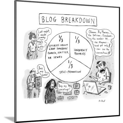 """CAPTIONLESS. Title: """"BLOG BREAKDOWN"""" On graph: """"1/3 Crap somebody cooked, ?"""" - New Yorker Cartoon-Roz Chast-Mounted Premium Giclee Print"""