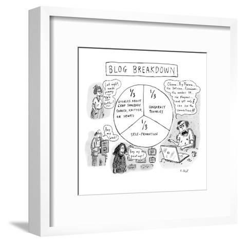 """CAPTIONLESS. Title: """"BLOG BREAKDOWN"""" On graph: """"1/3 Crap somebody cooked, ?"""" - New Yorker Cartoon-Roz Chast-Framed Art Print"""