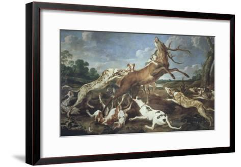 Stag Attacked by Pack of Hounds-Paul De Vos-Framed Art Print