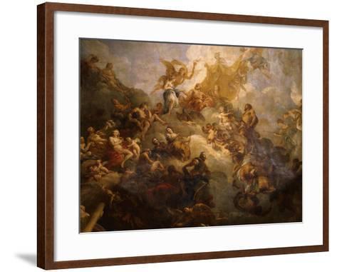 The Apotheosis of Hercules, Ceiling of Hercules Salon, Decorated 1710-Francois Lemoyne-Framed Art Print