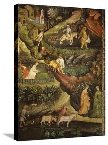 April or Aries with Ploughing with Oxen, Women in Garden and Rabbits in Forest- Venceslao-Stretched Canvas Print
