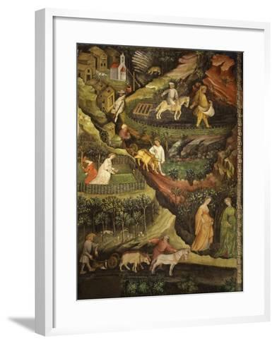 April or Aries with Ploughing with Oxen, Women in Garden and Rabbits in Forest- Venceslao-Framed Art Print