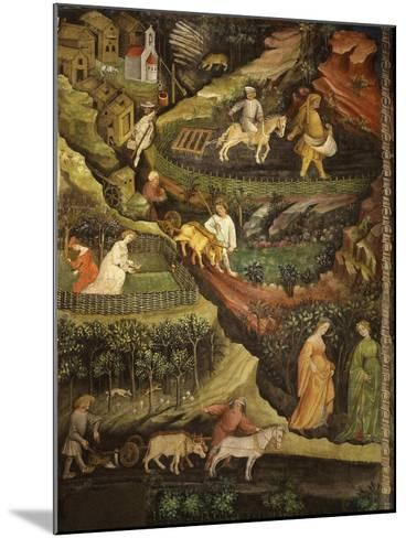 April or Aries with Ploughing with Oxen, Women in Garden and Rabbits in Forest- Venceslao-Mounted Giclee Print