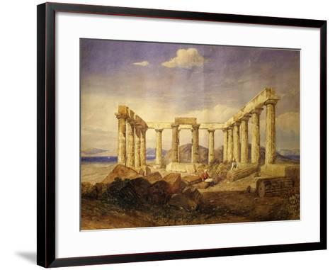 Temple of Aphaia, Aegina, Built C. 500 Bc, Watercolour, C.1805-Edward Dodwell-Framed Art Print