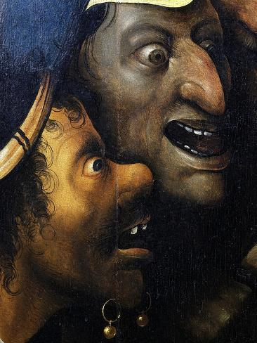 Mocking Faces, from Christ Carrying the Cross, C. 1490 (Detail)-Hieronymus Bosch-Stretched Canvas Print