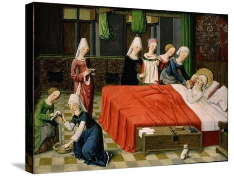 Birth of the Virgin Mary, from Scenes from the Life of the Virgin Mary (Detail)- Master of Aquisgrana-Stretched Canvas Print