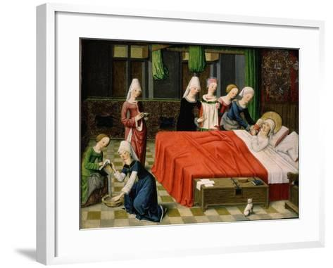 Birth of the Virgin Mary, from Scenes from the Life of the Virgin Mary (Detail)- Master of Aquisgrana-Framed Art Print