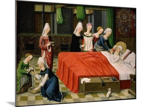 Birth of the Virgin Mary, from Scenes from the Life of the Virgin Mary (Detail)- Master of Aquisgrana-Mounted Giclee Print