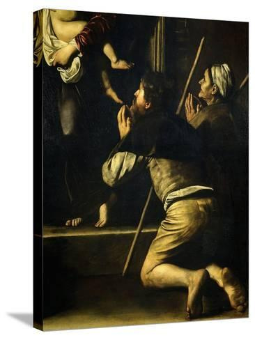 Pilgrims, from Madonna of the Pilgrims, Called the Loreto Madonna (Detail)-Caravaggio-Stretched Canvas Print