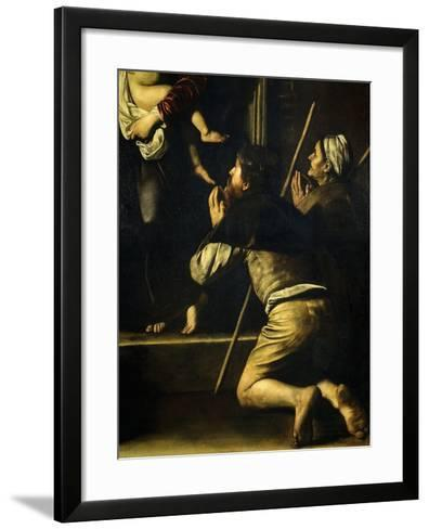 Pilgrims, from Madonna of the Pilgrims, Called the Loreto Madonna (Detail)-Caravaggio-Framed Art Print