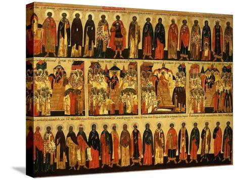 Calendar for July Showing Councils of Constantinople and Ephesus, Icon, Mid 18th Century--Stretched Canvas Print