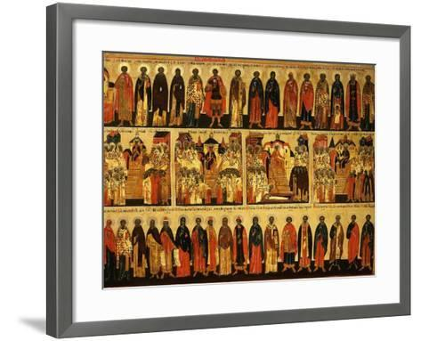 Calendar for July Showing Councils of Constantinople and Ephesus, Icon, Mid 18th Century--Framed Art Print