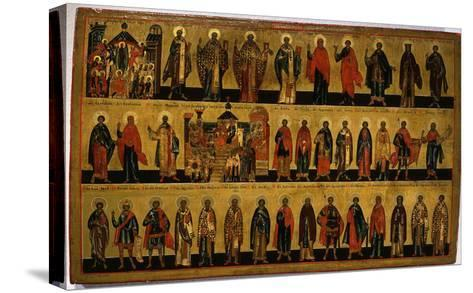 Calendar for October, Icon, Mid 18th Century Novgorod School Russian--Stretched Canvas Print