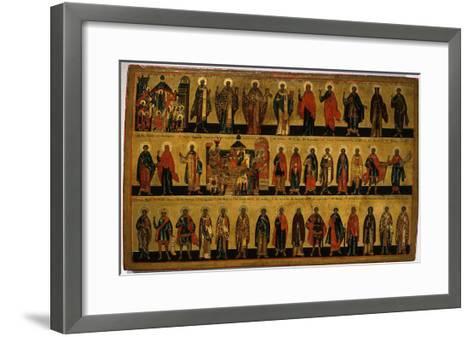 Calendar for October, Icon, Mid 18th Century Novgorod School Russian--Framed Art Print
